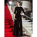 저녁 정장파티/밀리터리 볼 드레스 - 블랙 A라인 바닥 길이 보석 벨벳 플러스 사이즈