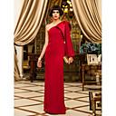 Formal Evening/Military Ball Dress - Ruby Sheath/Column One Shoulder Floor-length Chiffon