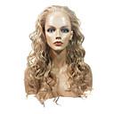 Anteriore del merletto alla moda lunghi ricci resistente al calore parrucca sintetica (Blonde)