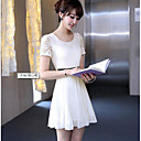 Women's Casual Solid / Lace A Line Dress , Round Neck Midi Chiffon