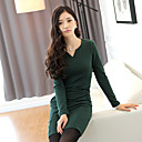 Kvinner Elegant V Neck Fleece Dress