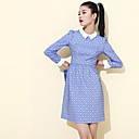 Damen Kleid Übers Knie Polyester ¾-Arm Hemdkragen