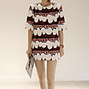 Women's Print Dress , Print/Work Crew Neck ½ Length Sleeve