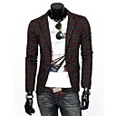 Men's Long Sleeve Regular Blazer , Cotton Blend Plaids & Checks
