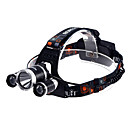 3XT6 Rechargeable 3-Mode 3xCree XM-L T6 Waterproof Headlamps(2x18650,3800LM)Black