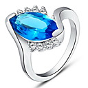 Fashionable Sliver With Cubic Zirconia Oval Women's Ring(Blue,Red,Purple)(1 Pc)