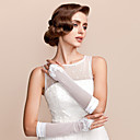 Satin / Tulle Elbow Length Fingerless Bridal Gloves With Pearls