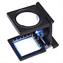 10X Metal Folding Pocket Jewelry Loupe Magnifier Magnifying Glass with Scale and LED