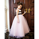 -Line Jewel Nilkka-pituus Satin ja tylli Häät / Party Flower Girl Dress (More Colors)