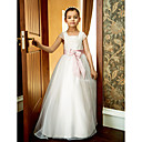 -Line Square Nilkka-pituus Oganza Häät / Party Flower Girl Dress (More Colors)