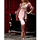 Women's Three Pieces Classic Pajamas With Rope