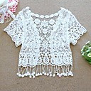 Women's Solid White/Beige Casual/Lace Asymmetrical Short Sleeve Hollow Out