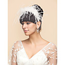 Ostrich Fur  And Tulle Wedding/Party Blusher Veils With Headbands(More Colors)