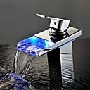 salle de bains robinet d'évier avec robinets cascade contemporains laiton finition chrome led poignée seul trou