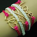 European Heart 18cm Women's Rose Leather Wrap Bracelet(Random Color)