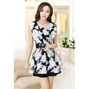 Women's Casual / Party / Work Floral A Line / Skater Dress , Round Neck Above Knee Cotton / Others