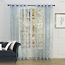 (Two Panels) Country Elegant Blue Blossoms Embroidery Sheer Curtain