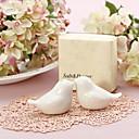 Tortelduifjes - keramieken zout & peperset bruiloftsbedankje (set van 2)