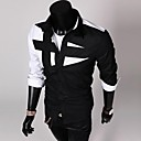 Men's White/Black/Wine Long Sleeve Blending Fashion Shirt