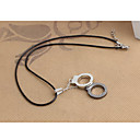 Fashion A Pair of Handcuffs Black Leather Pendant Necklace (1 Pc)