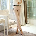 Women's Contrast Details OL Style Slim Long Pants