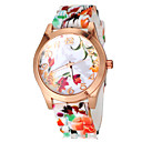 Patrón de flores de colores de las mujeres del silicón del cuarzo de la venda del reloj