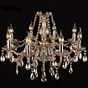 8 Lights,Comtempoary Crystal Chandelier In Cognac Color Crystal & Glass