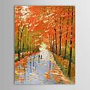 handgeschilderde olieverf landschap liefhebbers wandelen langs platteland met gestrekte frame