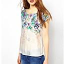 Kvinnors Print rundan förser med krage Stickad Bomull T-shirt