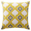 Artistic Yellow Overlapping Rhombus Lattice Cotton Canvas Decorative Pillow