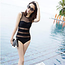 Women's Sexy Black Transparent Stripes Swimsuit