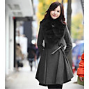 Women's Fur Collar Slim Waist Wool Pleated Midi Coat