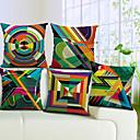 Set of 5 Colorful Geometric Cotton/Linen Decorative Pillow Cover