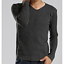 Men's V Neck Solid Knit Long Sleeve Sweater