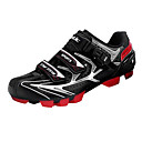 SANTIC Men's Athletic Lightweight MTB Mountian Bike Cycling Locking Shoes - Black + Red