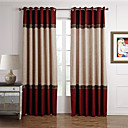 Neoclassical Two Panels Solid Beige  Red Living Room Polyester Panel Curtains Drapes