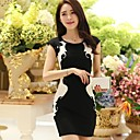 Women's Patchwork Multi-color Dress , Vintage/Bodycon Round Neck Short Sleeve