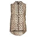 Women's Leopard Multi-color Shirt , Shirt Collar Sleeveless