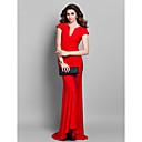 Formal Evening Dress - Ruby Plus Sizes / Petite Trumpet/Mermaid V-neck Sweep/Brush Train Jersey
