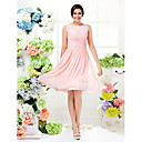 Knee-length Georgette Bridesmaid Dress - Pearl Pink Plus Sizes / Petite A-line Jewel