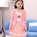 Girl's Sweet Polka Dot Lace And Sunflower Print Beaded Clothing Sets(Dress&Knitwear)