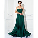 TS Couture Formal Evening / Prom / Military Ball Dress - Dark Green Plus Sizes / Petite A-line / Princess Strapless Sweep/Brush Train Chiffon