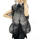 Sleeveless Shawl Black Faux Fur Vest