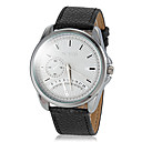 Men's Small Dial Pattern PU Band Quartz Wrist Watch (Assorted Colors)