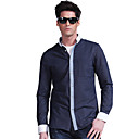 Lesmart Men's Long Sleeve Shirt , Pure Cotton Fashion Business Casual Patchwork Contrast Color