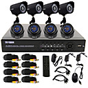 8 Channel One-Touch Online CCTV DVR System(4 Outdoor Waterproof Camera& 4 Indoor Dome Camera)