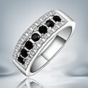 Fashion Hollow Out Black Zircon Silver Statement Ring For Women (1 pc)