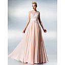 Dress - Blushing Pink Plus Sizes / Petite A-line Jewel Floor-length Chiffon / Lace