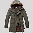 Men's Long Parka Coat , Cotton Pure Long Sleeve