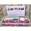 1200pcs Rainbow Color Loom Style Silicone Band Elastic Bracelets Bands ,1 Looms ,1Hook+1Box